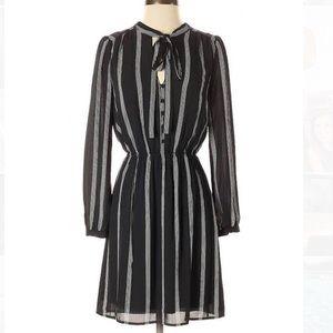 Black long sleeve striped dress